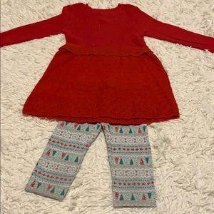 Girl Christmas legging/ sweater set